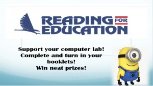 Reading for Education fundraiser with minion
